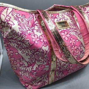 Lilly Pulitzer pink floral alpha phi sequin tote